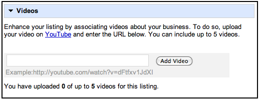 Google Places Video Listing