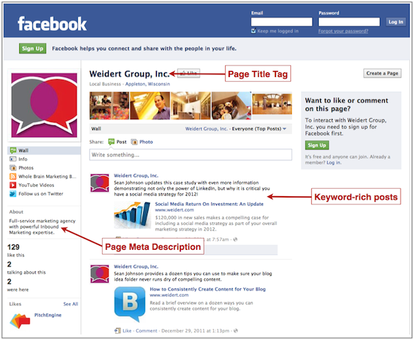 Optimized Facebook Page Example