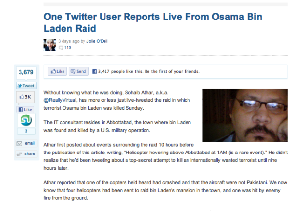 Twitter User Reports Bin Laden Raid