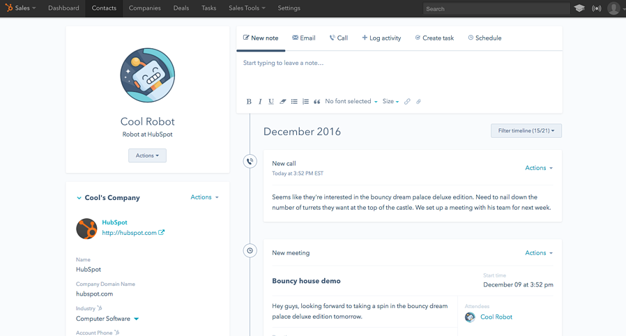 Inbound Sales for Industrial Manufacturers contact timeline in HubSpot