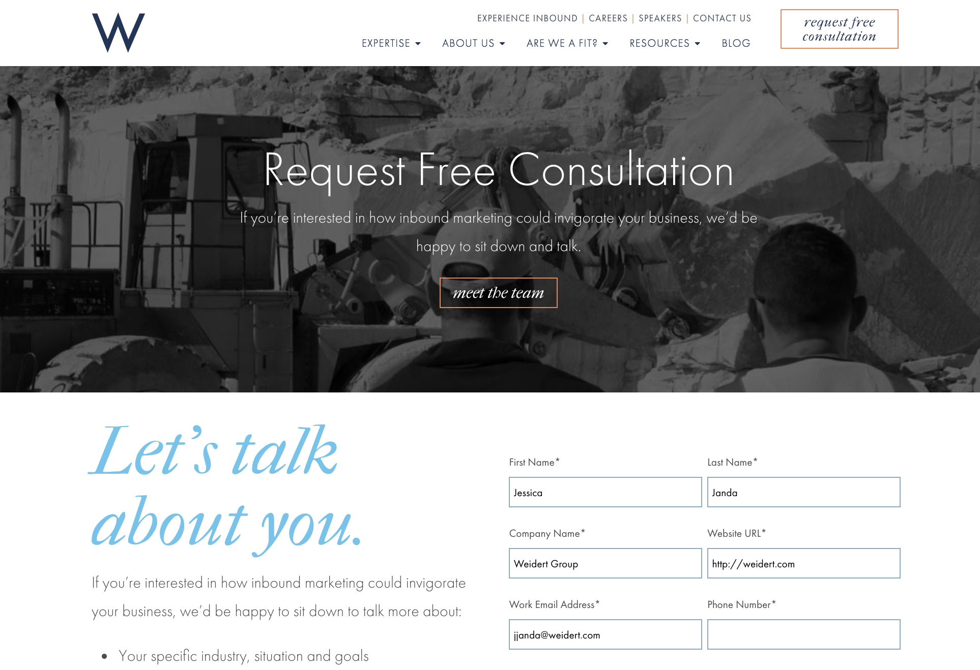 Before Free Consultation page