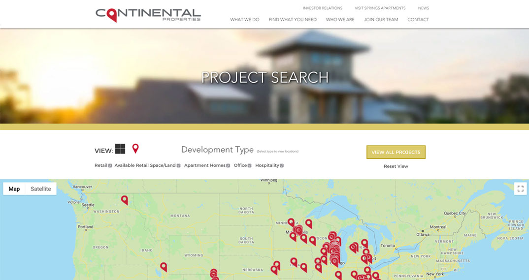Continental Properties project search feature
