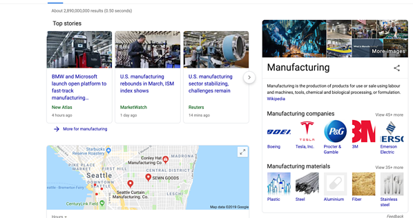 Google search for manufacturing shows stories and localized results.