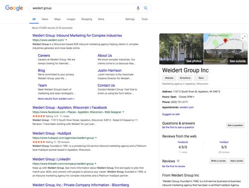 Weidert Group listing in Google SERP