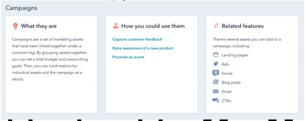 HubSpot campaign tools