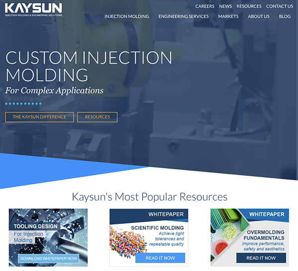 Specialized injection molder using content marketing resources