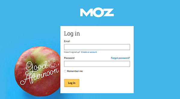 Login page for MOZ.com shows different graphics based on your local time of day