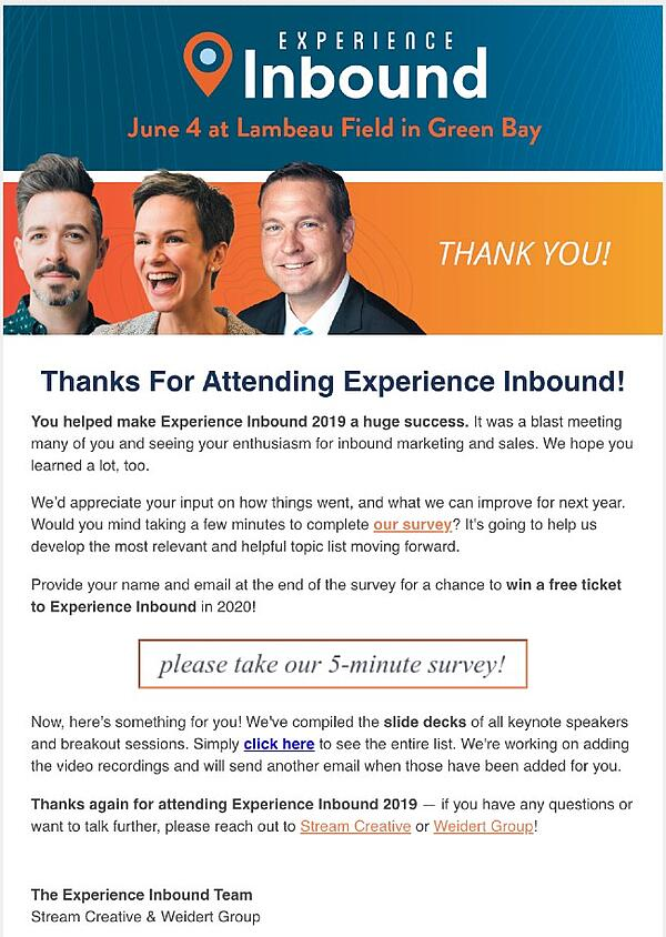 Post trade show email example
