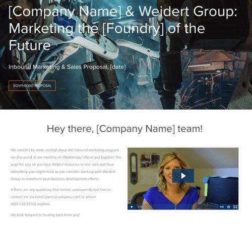 sample custom sales prospect page