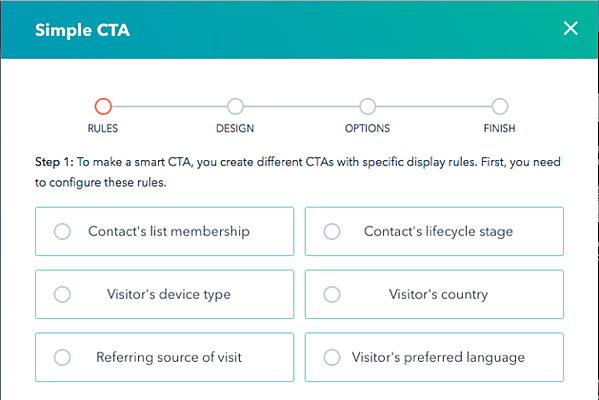 Sample smart CTA criteria options in HubSpot
