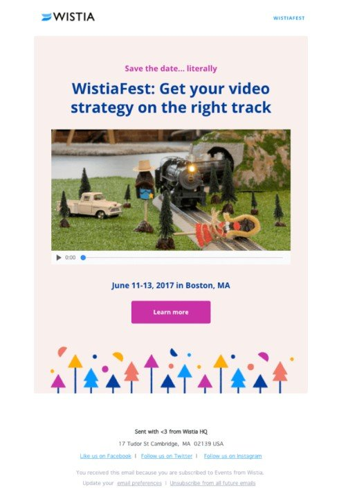 Pre trade show email marketing example Wistiafest