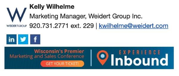 Trade show email signature CTA example