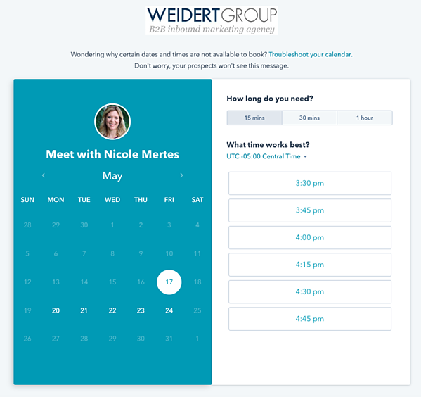 HubSpot meeting scheduling tool