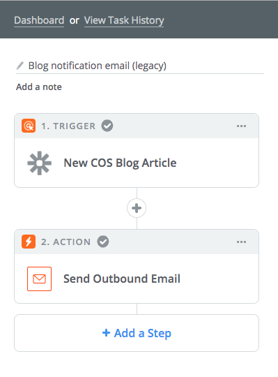 Example Zapier notification for employee social sharing