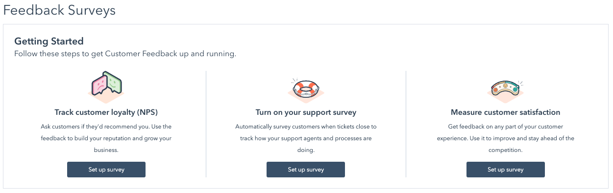 three types of customer feedback surveys in HubSpot