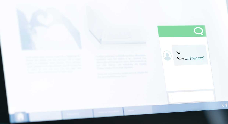 Chat bot open in website window on a screen
