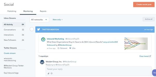 HubSpot social monitoring tools