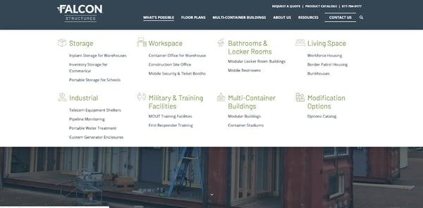 Sample HubSpot website navigation menu