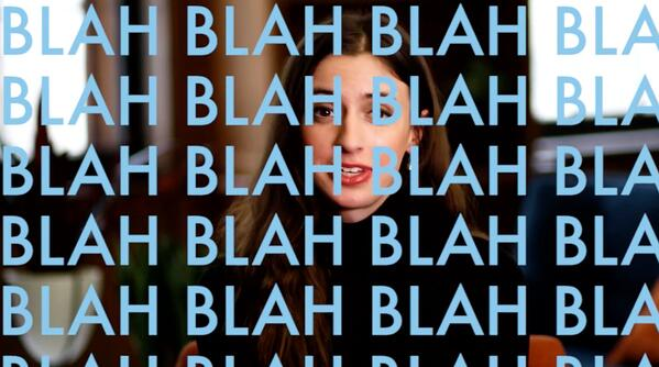 A screen with the word 'blah' repeated multiple times, indicating boring video