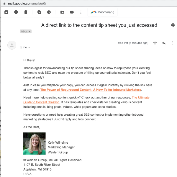 Example HubSpot follow-up email