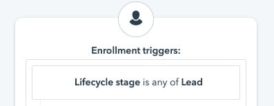 Example HubSpot workflow enrollment criteria
