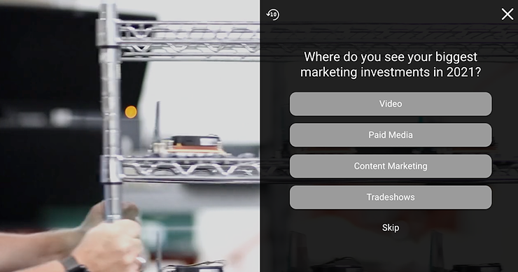 Interactive video survey feature example