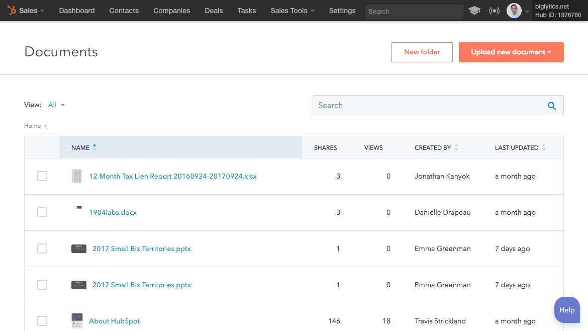 HubSpot-trackable-sales-documents-library-tool