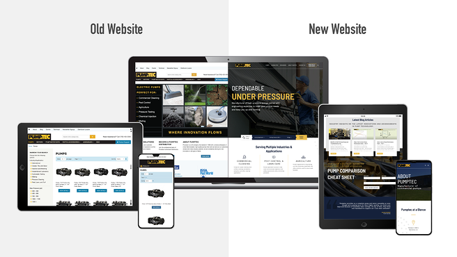 before and after of pumptec's website