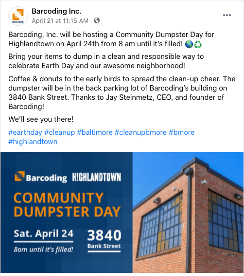 Barcoding-community-dumpster-day-facebook-post
