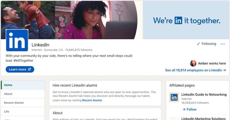 A linkedin Company page for the LinkedIn company