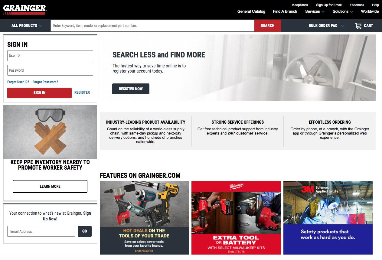 Grainger.com Homepage Example