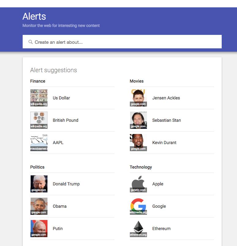 Google Alerts Home