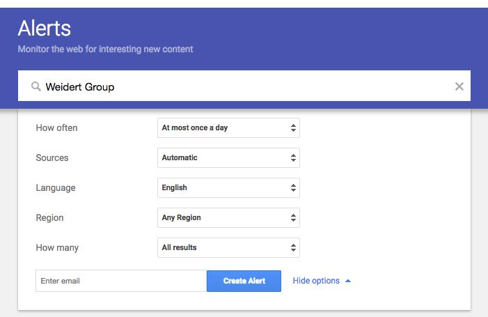 Google Alerts Advanced Options