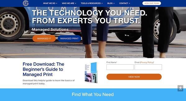 Top of funnel CTA on website home page