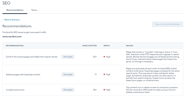 hubspot-website-seo-recommendations-tool