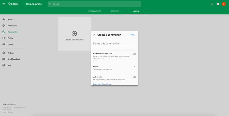 how to create a google+ community