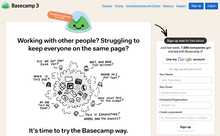 Basecamp Landing Page Example