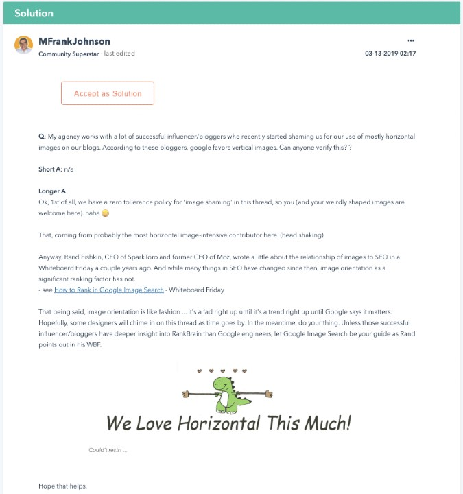 online community forum helpful answer