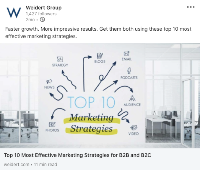Weidert Group LinkedIn Visual example; Top 10 Most Effective Marketing Strategies for B2B and B2C