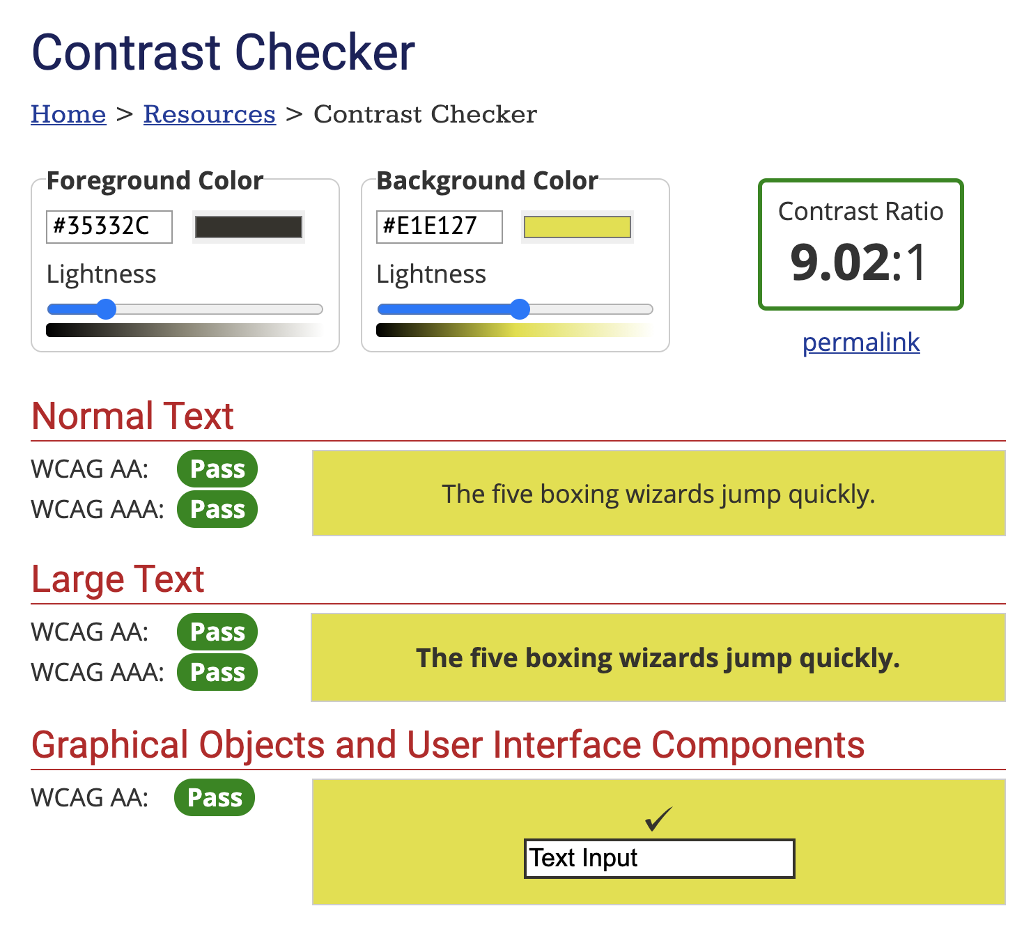Color Contrast Checker for website accessibility